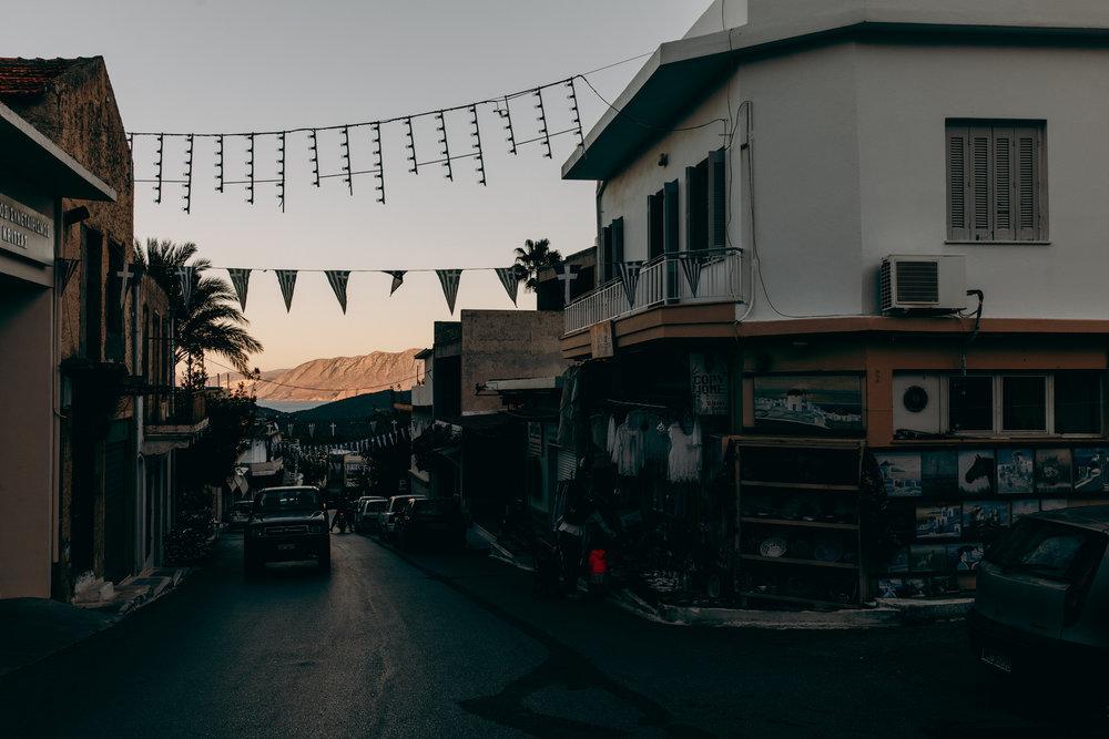 Sunset, mountain in little village at Crete, Greece