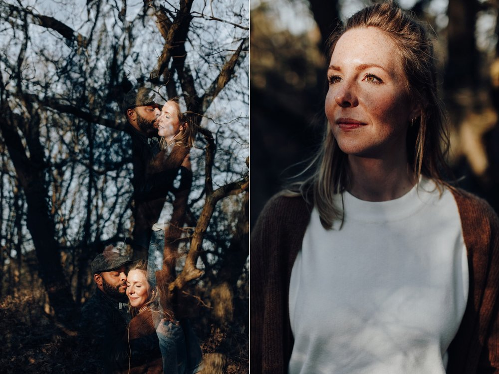 Douple exposure and portrait of couple