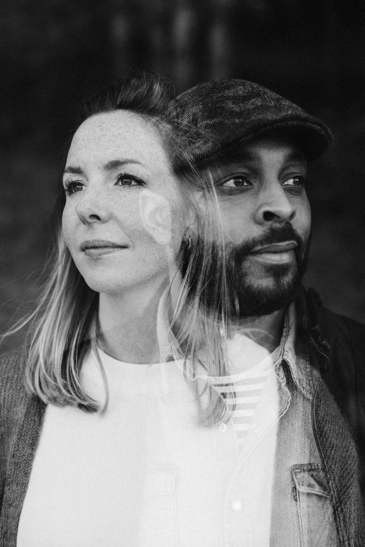 Double exposure portrait of couple