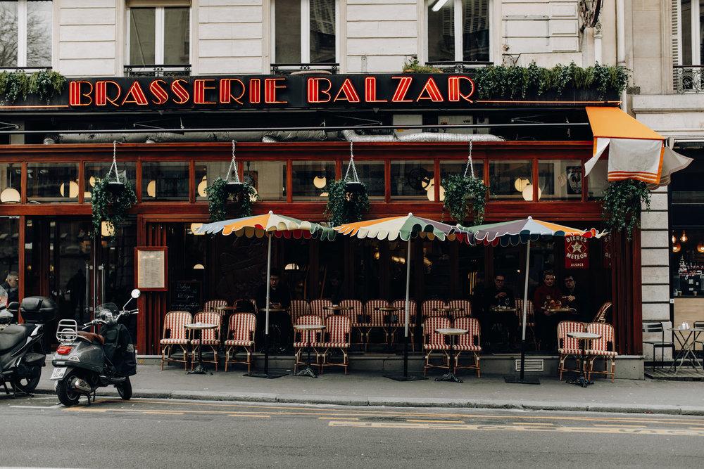 Terrace of Brasserie Balzar in Paris, France