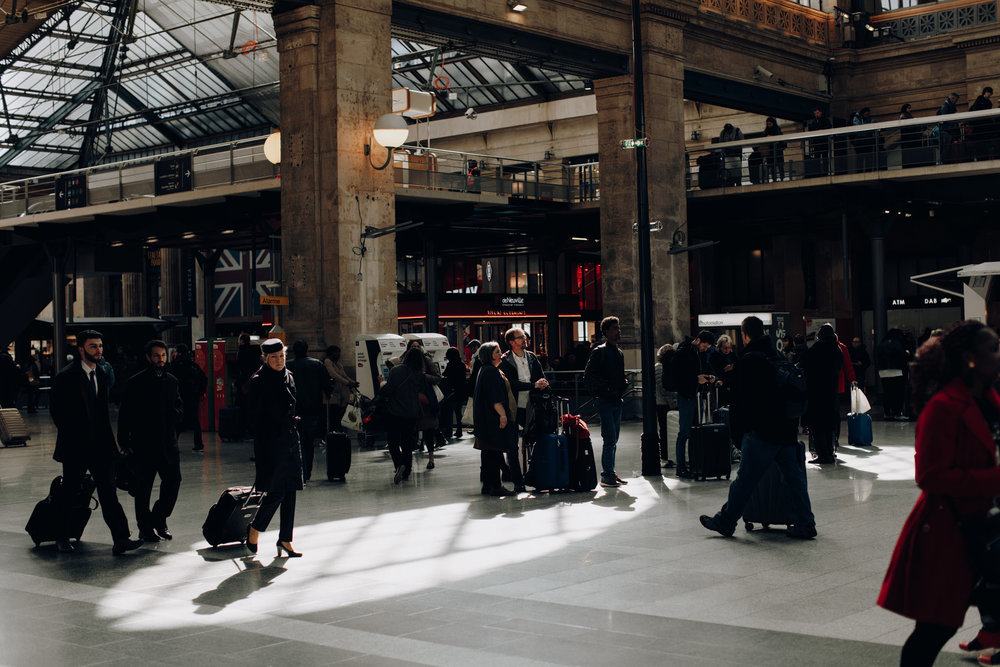 People waiting for Thalys at Gare du Nord, Paris, France