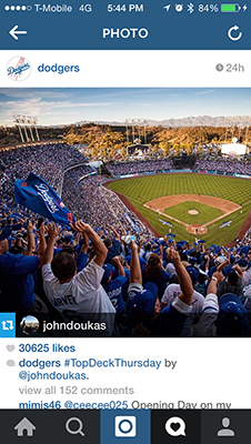 LOS ANGELES DODGERS   Photo featured on the official Los Angeles Dodgers Instagram
