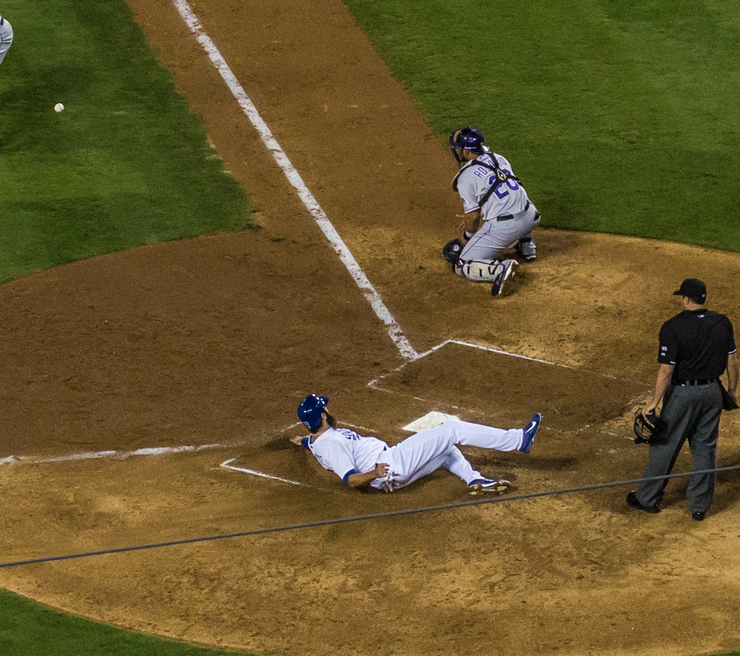 Scott Van Slyke sliding into home