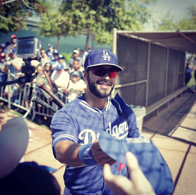 Andre Ethier signing autographs