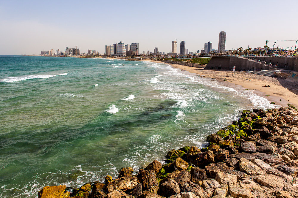 Overlooking the beach at Tel Aviv
