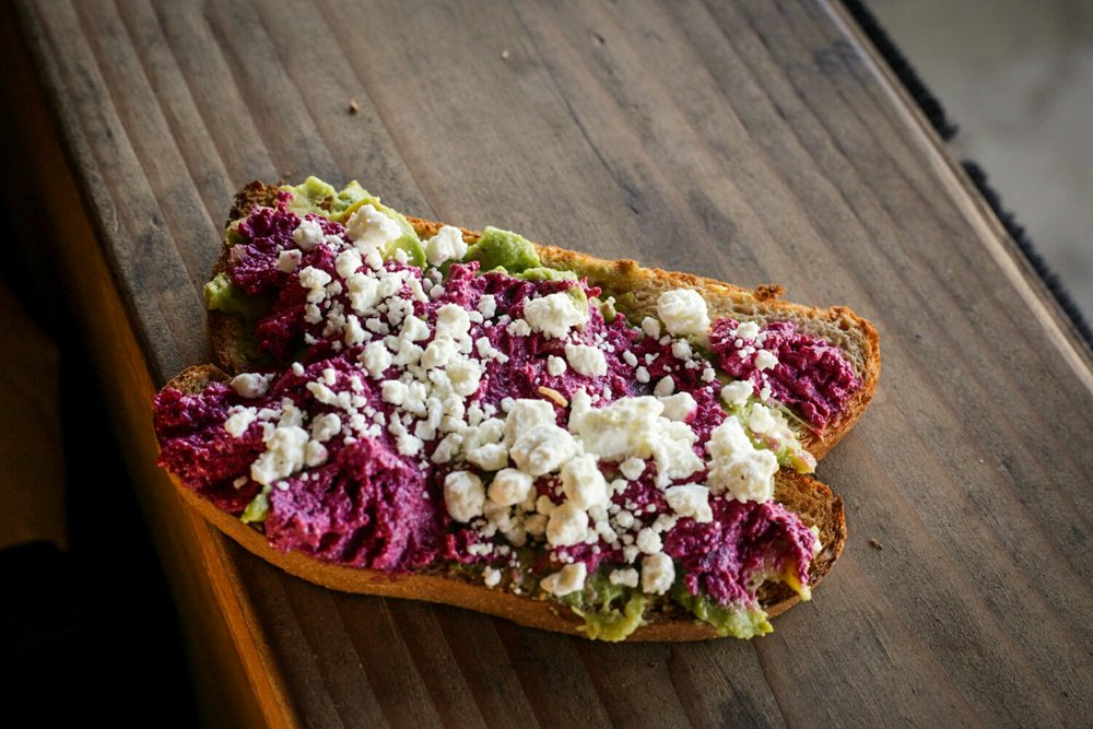 Avocado toast with roasted beets and