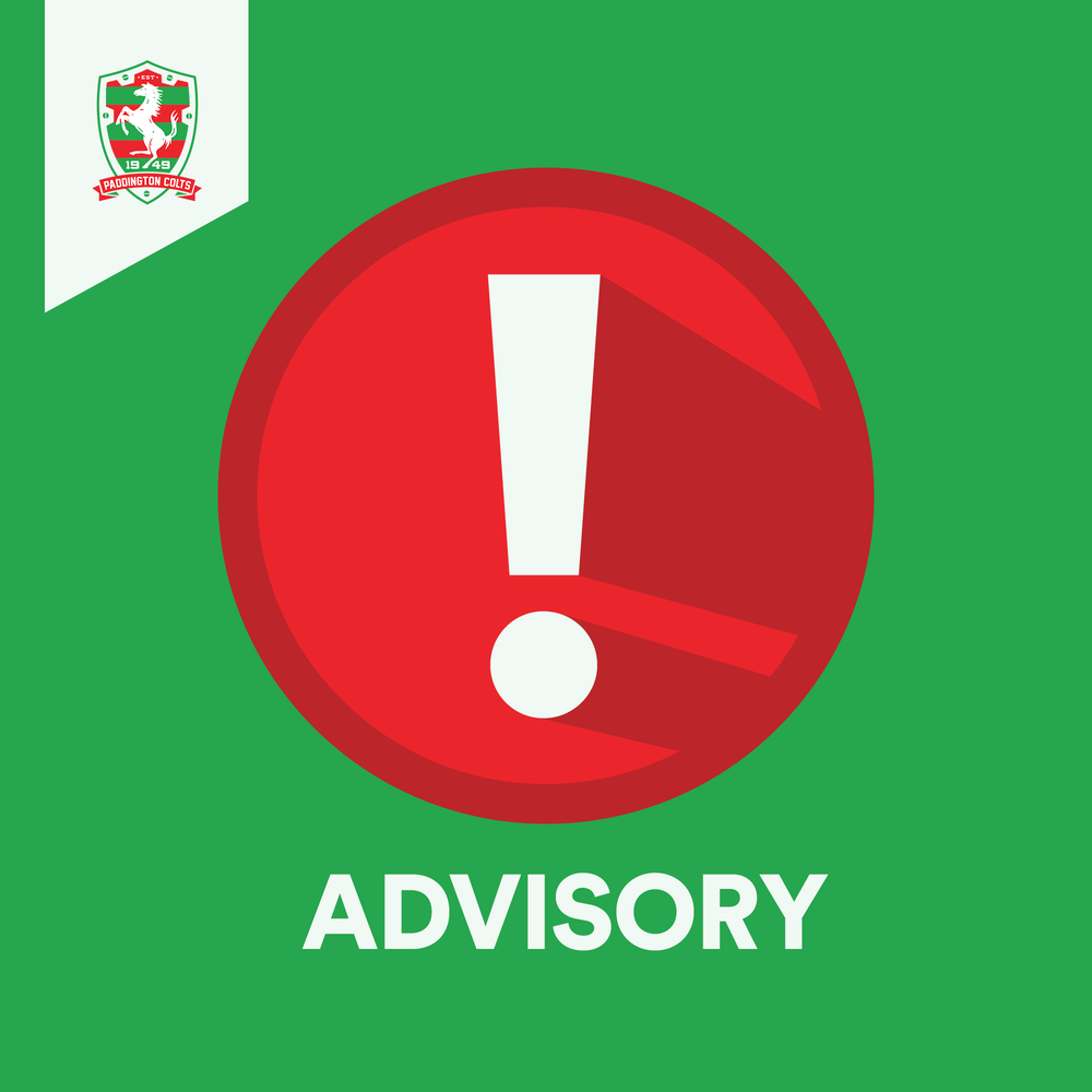 Training Cancelled!   Thursday, 21st March 2019. All playing fields have been closed due to weather