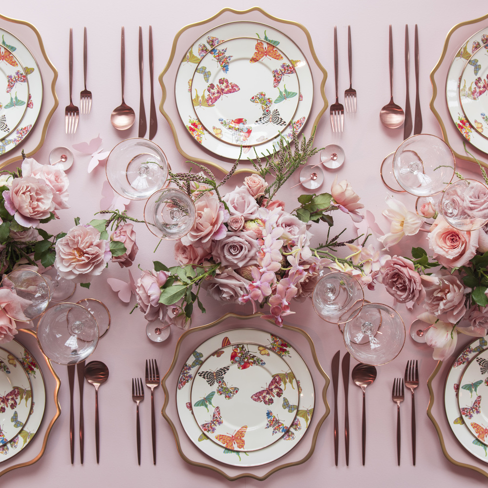 RENT: Anna Weatherley Chargers in Desert Rose/Gold + MacKenzie-Childs Butterfly Garden Collection + Moon Flatware in Brushed Rose Gold + Chloe 24k Gold Rimmed Stemware + Pink Enamel Salt Cellars + Tiny Copper Spoons  SHOP: Moon Flatware in Rose Gold + Chloe 24k Gold Rimmed Stemware + Pink Enamel Salt Cellars + Tiny Copper Spoons