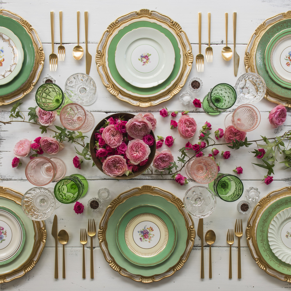 RENT: Florentine Chargers in White/Gold + Green Botanicals Vintage China + Rondo Flatware in Brushed 24k Gold + Green/Pink Vintage Goblets + Vintage Champagne Coupes + Antique Crystal Salt Cellars  SHOP:Florentine Chargers in White/Gold + Rondo 24k Gold Flatware