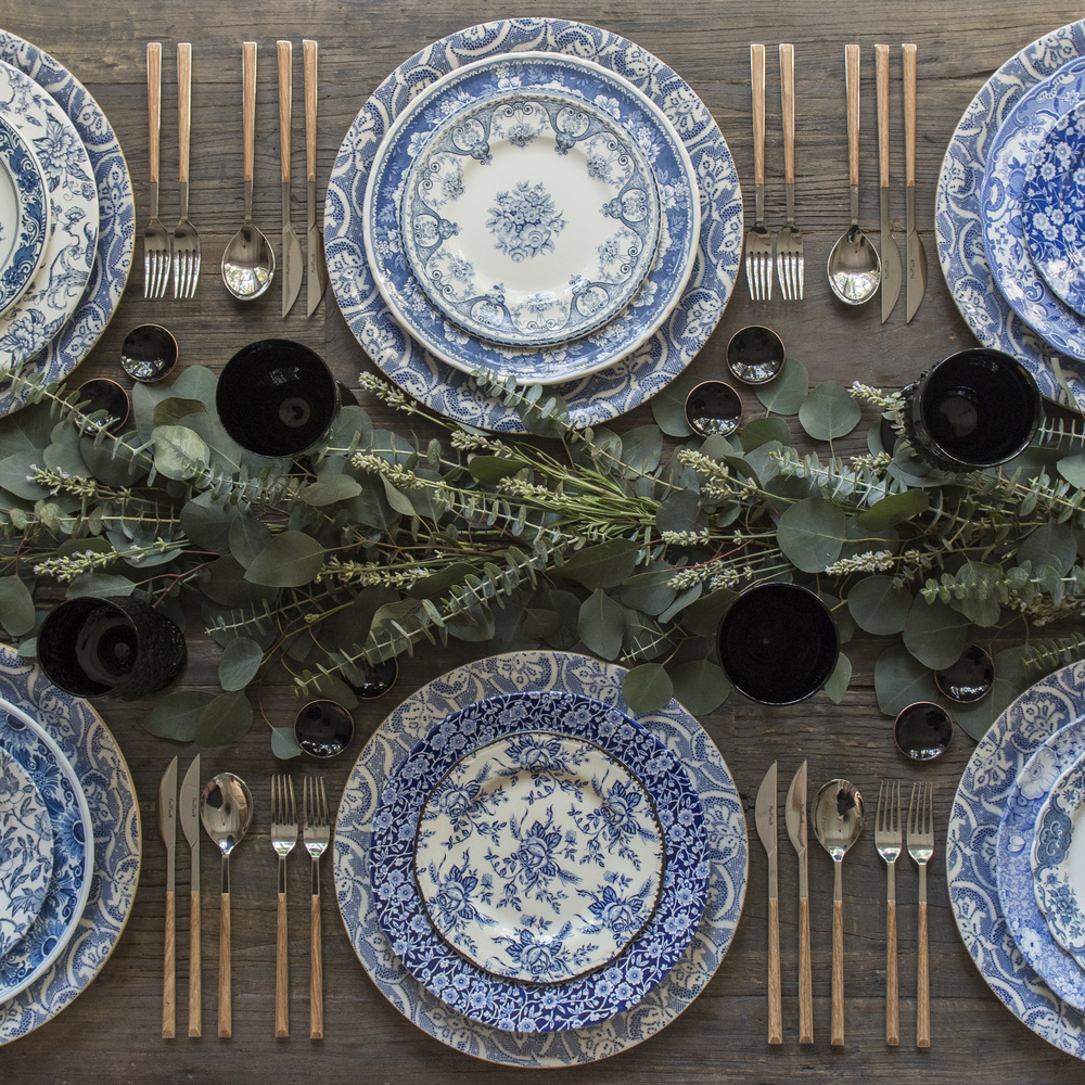 RENT: Blue Fleur de Lis Chargers + Blue Garden Collection Vintage China + Danish Flatware in Teak + Black Vintage Goblets + Black Enamel Salt Cellars  SHOP: Black Enamel Salt Cellars
