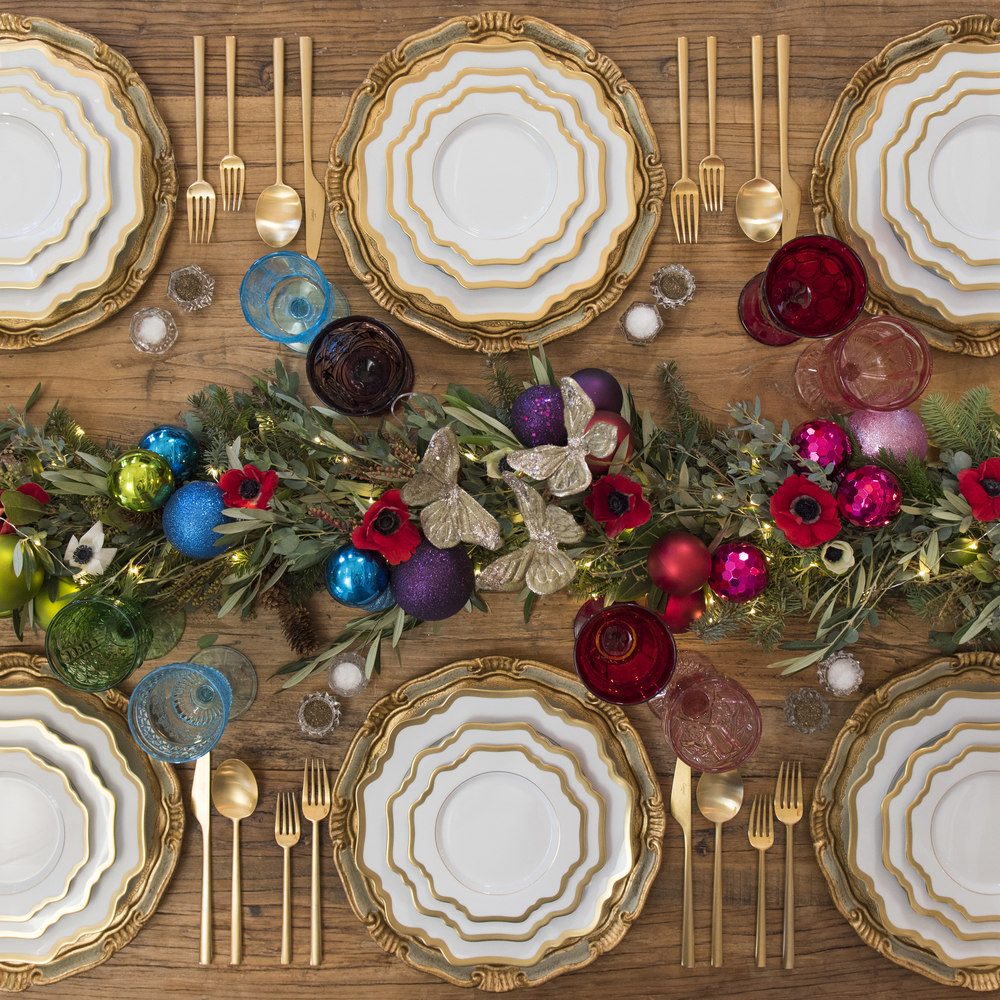 RENT: Florentine Chargers in Sage Green/Gold + Anna Weatherley Dinnerware in White/Gold + Rondo Flatware in Brushed 24k Gold + Green/Aqua/Purple/Red/Pink Vintage Goblets + Antique Crystal Salt Cellars  SHOP:Florentine Chargers in Sage Green/Gold + Anna Weatherley Dinnerware in White/Gold + Rondo Flatware in Brushed 24k Gold