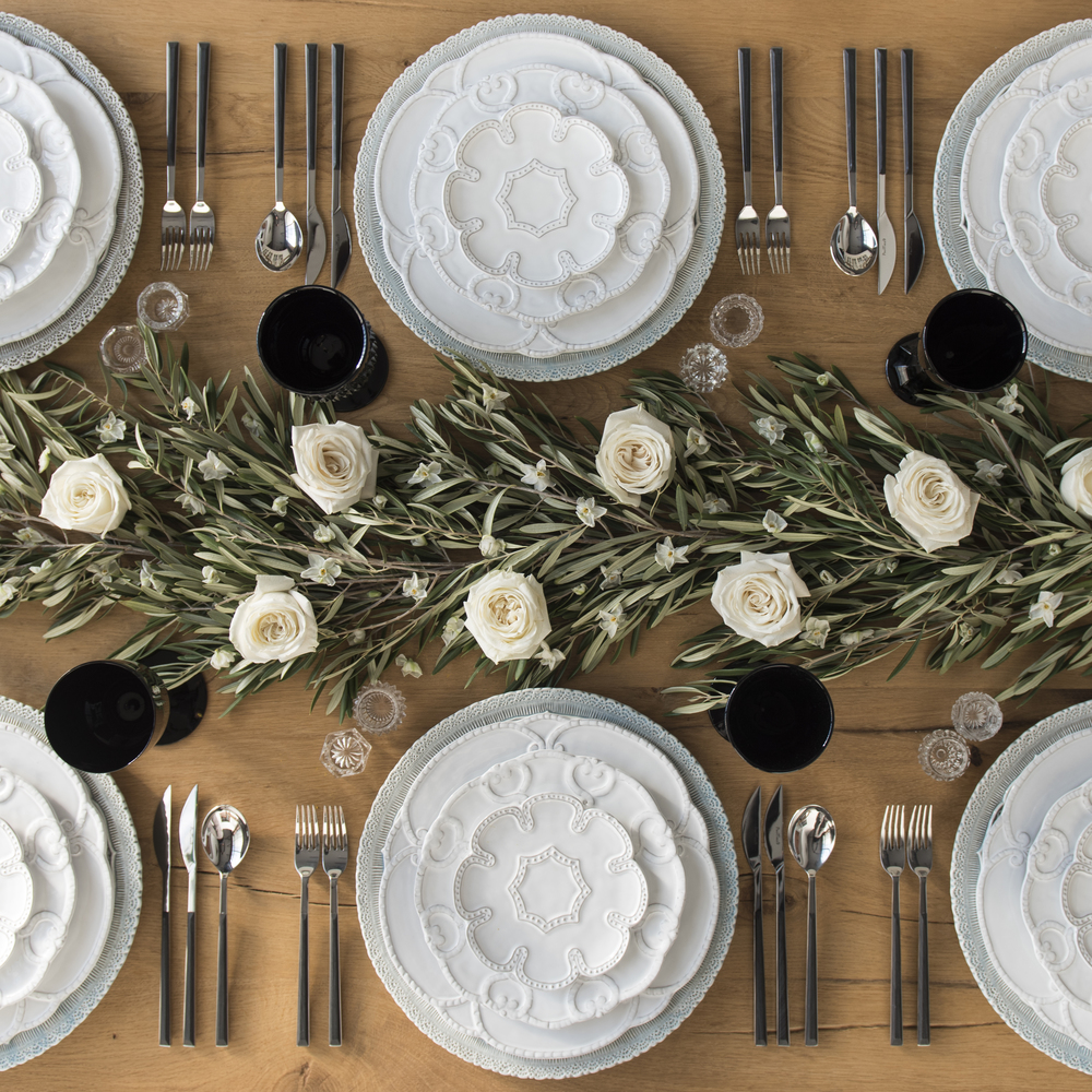 RENT: Lace Chargers in Dusty Blue + Signature Collection Dinnerware + Danish Flatware in Ebony + Black Vintage Goblets + Antique Crystal Salt Cellars
