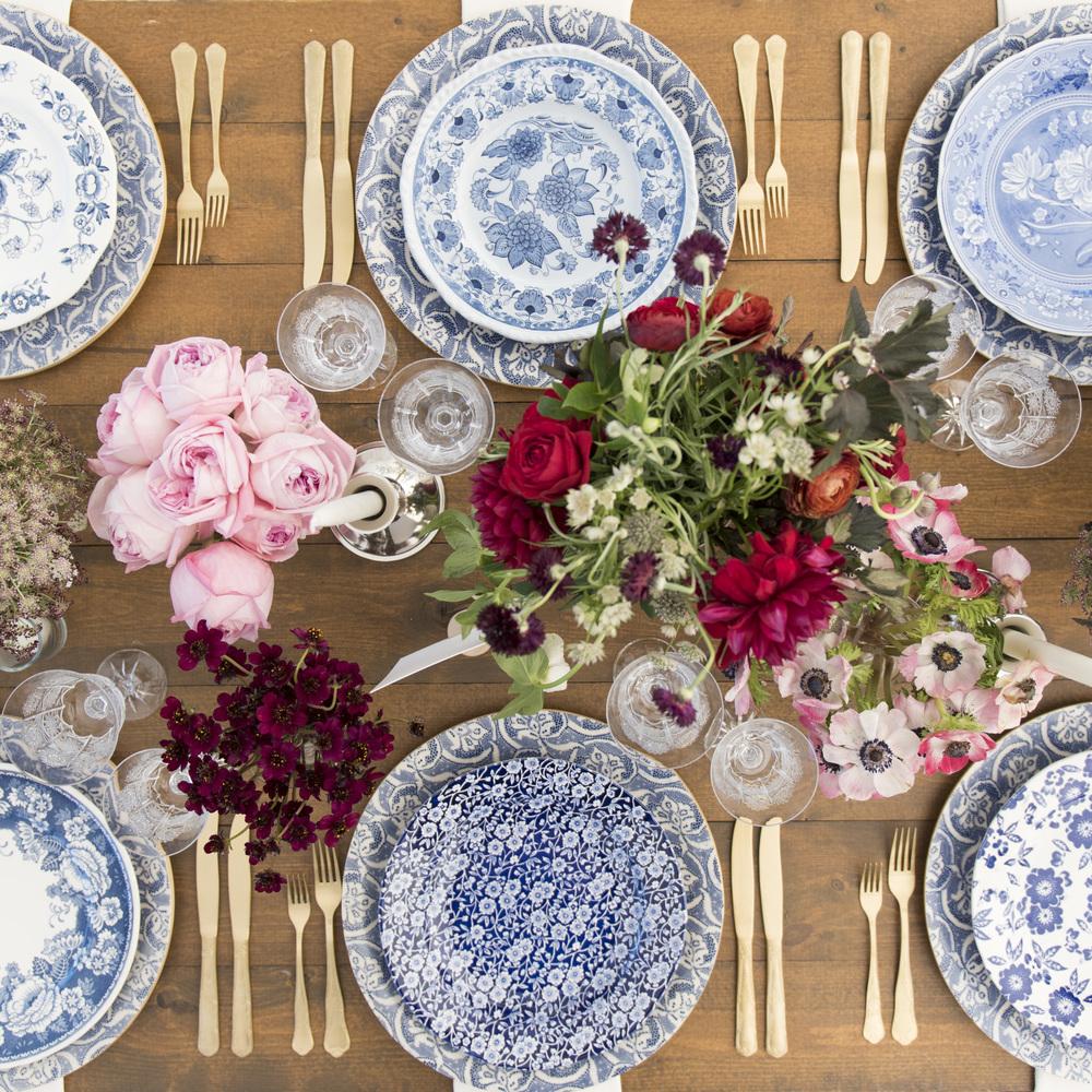 RENT: Blue Fleur de Lis Chargers + Blue Garden Collection Vintage China + Chateau Flatware in Matte Gold + Czech Crystal Stemware