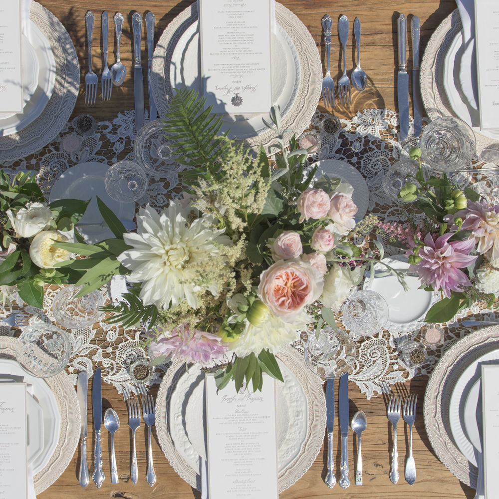 RENT: Lace Chargers in White + White Collection Vintage China + Antique Silver Flatware + Vintage Cut Crystal Goblets + Vintage Champagne Coupes + Antique Crystal Salt Cellars