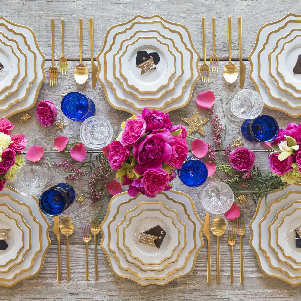 RENT: Anna Weatherley Chargers/Dinnerware in White/Gold + Rondo Flatware in Brushed 24k Gold + Dark Blue Vintage Goblets + Early American Pressed Glass Goblets  SHOP:Anna Weatherley Chargers/Dinnerware in White/Gold + Rondo Flatware in Brushed 24k Gold