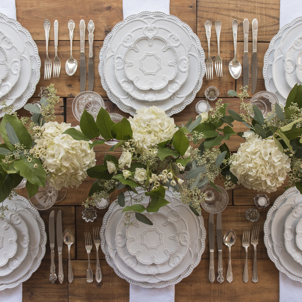 RENT: Signature Collection Chargers/Dinnerware + Antique Silver Flatware + Early American Pressed Glass Goblets + Antique Crystal Salt Cellars