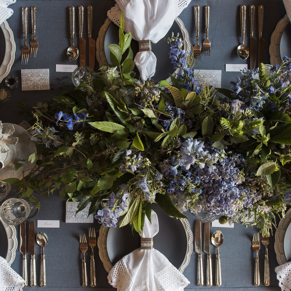 RENT: Signature Collection Chargers + Heath Ceramics in Indigo/Slate + Tuscan Flatware in Pewter + Vintage Cut Crystal + Early American Pressed Glass Goblets + Vintage Champagne Coupes + Antique Crystal Salt Cellars