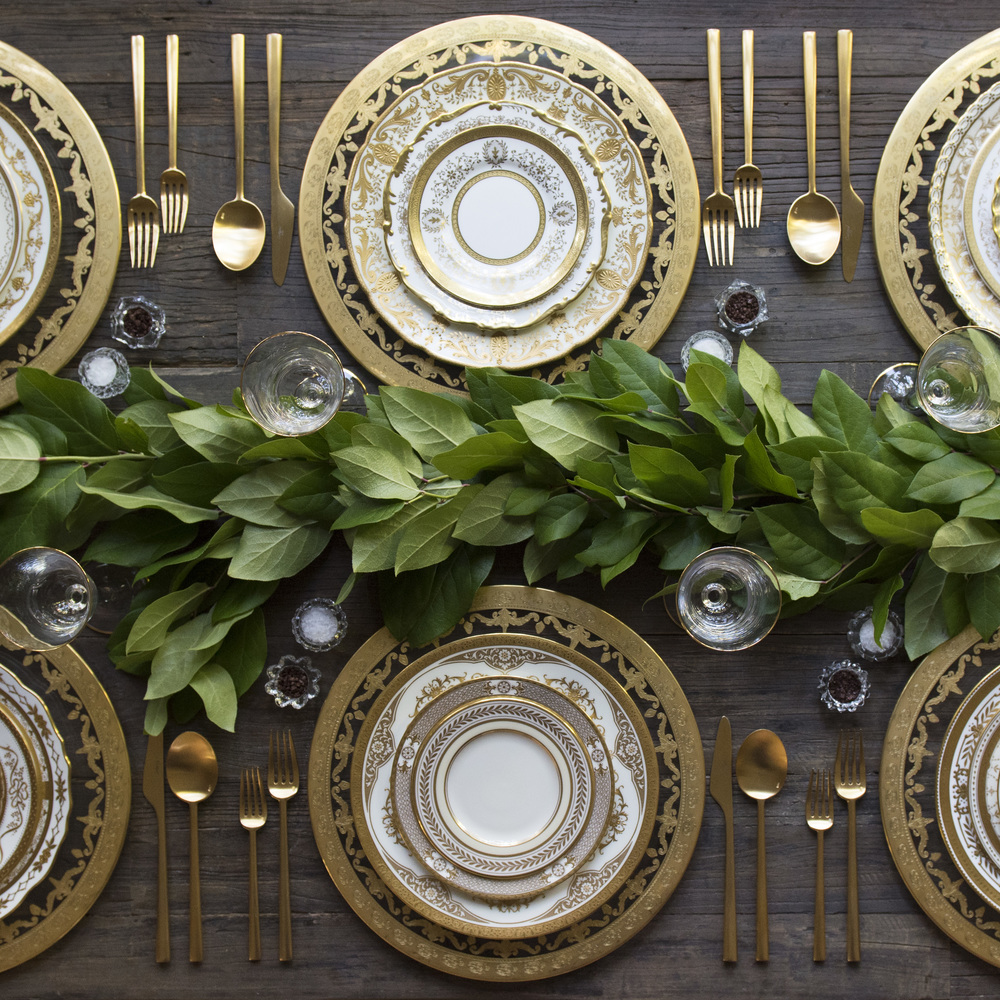 RENT: Versailles Glass Chargers in 24k Gold + Crown Gold Collection Vintage China + Rondo Flatware in Brushed 24k Gold + Chloe 24k Gold Rimmed Stemware + Antique Crystal Salt Cellars  SHOP:Rondo Flatware in Brushed 24k Gold + Chloe 24k Gold Rimmed Stemware