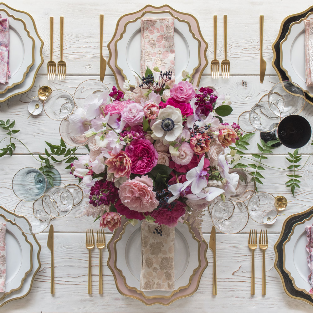 RENT: Anna Weatherley Chargers in White/Gold, Desert Rose/Gold, Black/Gold + Anna Weatherley Dinnerware in White/Gold + Rondo Flatware in Brushed 24k Gold + Chloe 24k Gold Rimmed Stemware + Chloe 24k Gold Rimmed Goblets in Agave/Blush/Black + 14k Gold Salt Cellars + White Enamel Salt Cellars + Tiny Gold Spoons  SHOP:Anna Weatherley Dinnerware in White/Gold + Rondo 24k Gold Flatware + Chloe 24k Gold Rimmed Stemware + 14k Gold Salt Cellars + White Enamel Salt Cellars + Tiny Gold Spoons