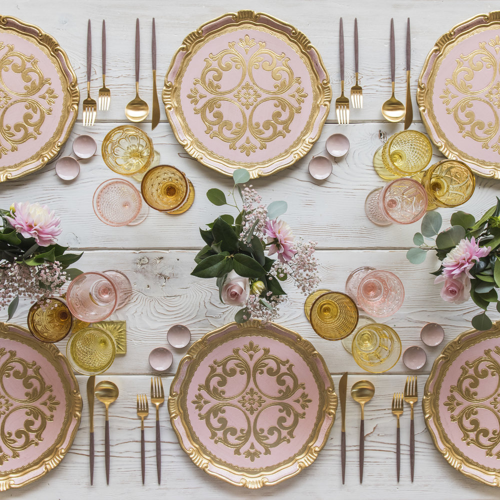 RENT: Florentine Chargers in Light Pink/Gold + Goa Flatware in Brushed 24k Gold/Wood + Pink/Amber/Yellow Vintage Goblets + Pink Enamel Salt Cellars  SHOP: Florentine Chargers in Light Pink/Gold + Goa Flatware in 24k Gold/Wood +Pink Enamel Salt Cellars