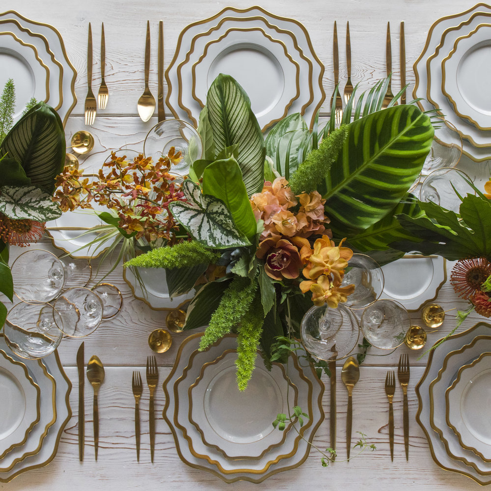 RENT: Anna Weatherley Chargers in White/Gold + Anna Weatherley Dinnerware in White/Gold + Celeste Flatware in Matte Gold + Chloe 24k Gold Rimmed Stemware + 14k Gold Salt Cellars + Tiny Gold Spoons  SHOP:Anna Weatherley Chargers in White/Gold + Anna Weatherley Dinnerware in White/Gold + Chloe 24k Gold Rimmed Stemware + 14k Gold Salt Cellars + Tiny Gold Spoons