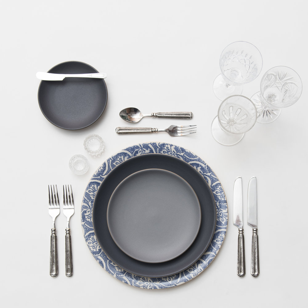 RENT: Blue Fleur de Lis Chargers + Heath Ceramics in Indigo/Slate + Tuscan Flatware in Pewter + Vintage Cut Crystal Goblets + Early American Pressed Glass Goblets + Antique Crystal Salt Cellars