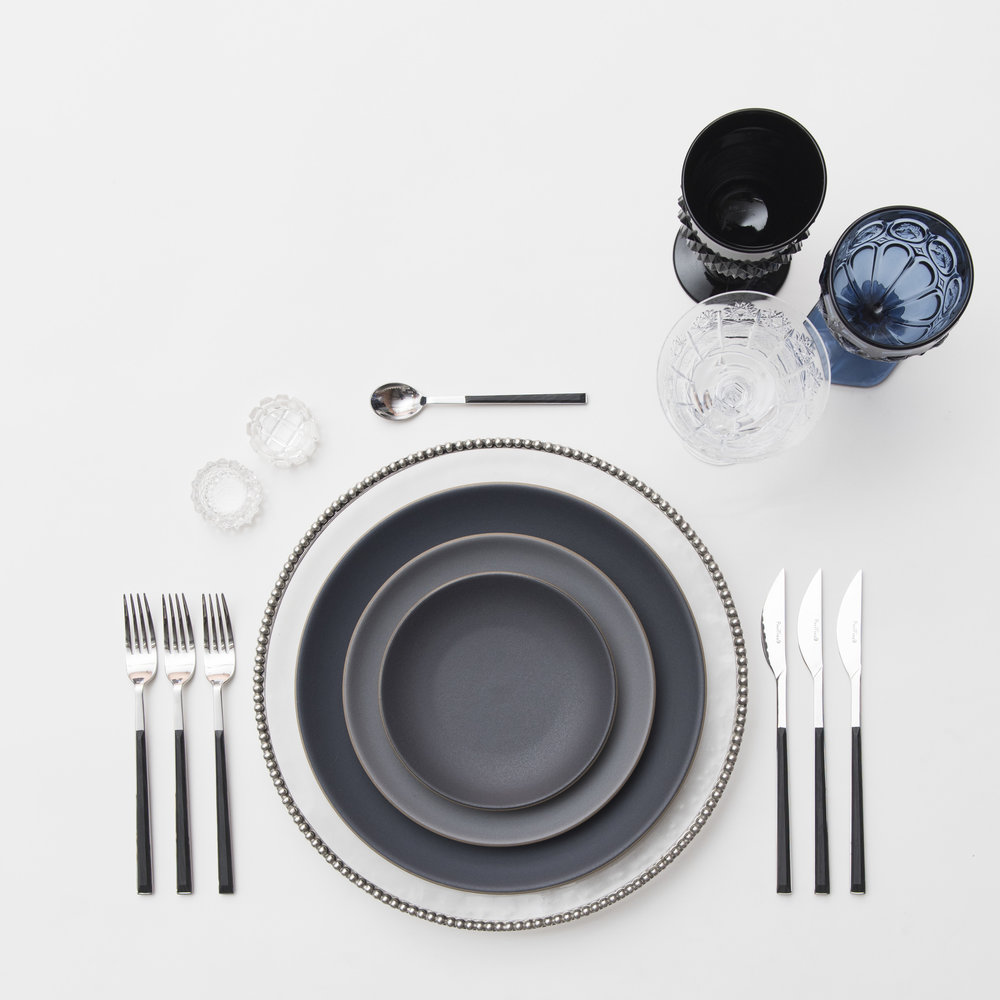 RENT: Pavé Glass Chargers in Pewter + Heath Ceramics in Indigo/Slate + Danish Flatware in Ebony + Black/Dark Blue Vintage Goblets + Czech Crystal Stemware + Antique Crystal Salt Cellars