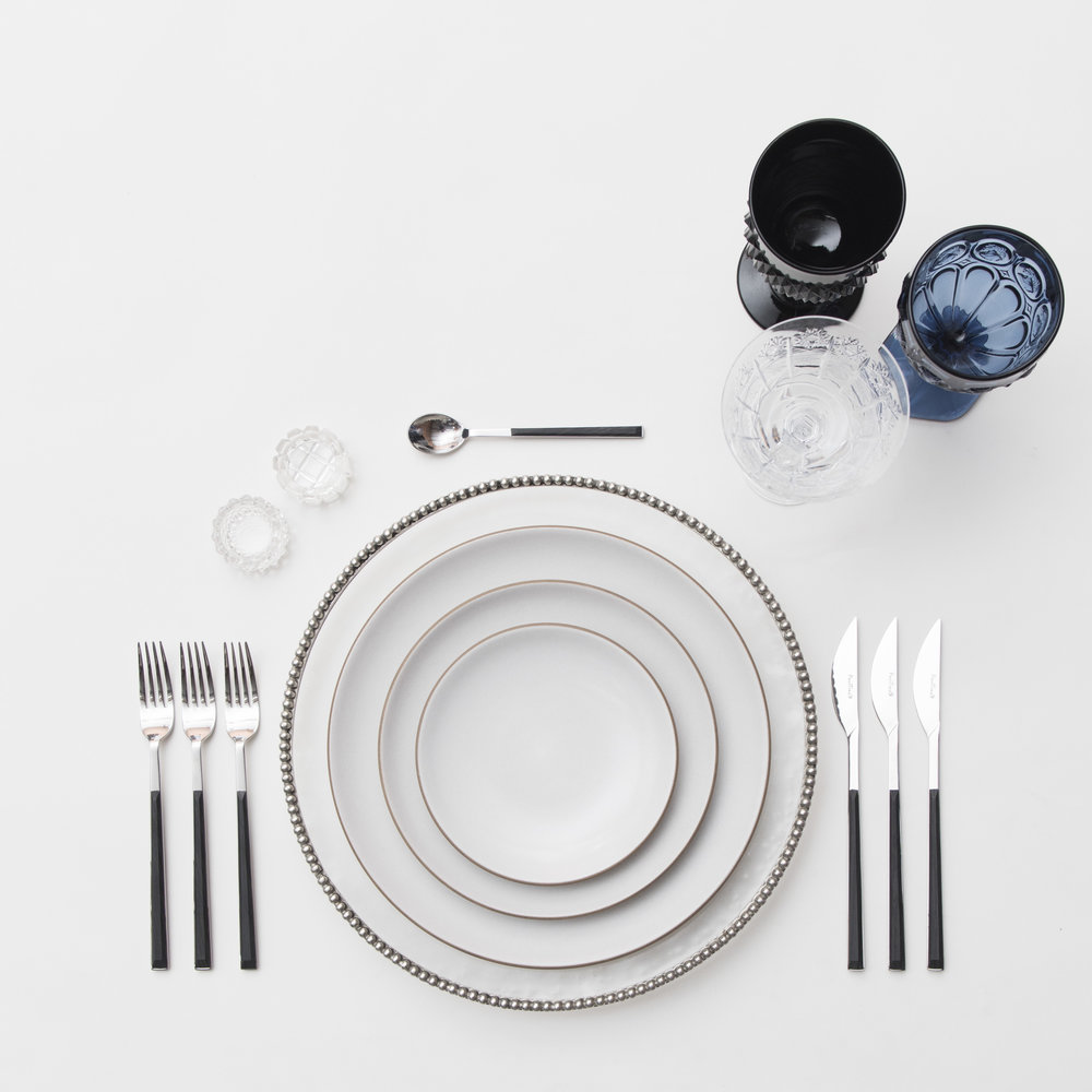 RENT: Pavé Glass Chargers in Pewter + Heath Ceramics in Opaque White + Danish Flatware in Ebony + Black/Dark Blue Vintage Goblets + Czech Crystal Stemware + Antique Crystal Salt Cellars