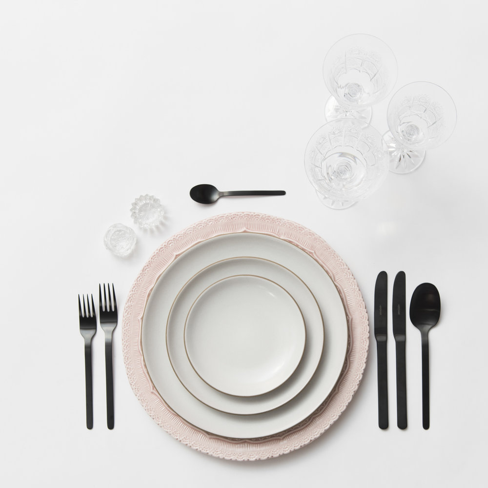 RENT: Lace Chargers in Blush + Heath Ceramics in Opaque White + Finn Flatware in Matte Black + Czech Crystal Stemware + Antique Crystal Salt Cellars