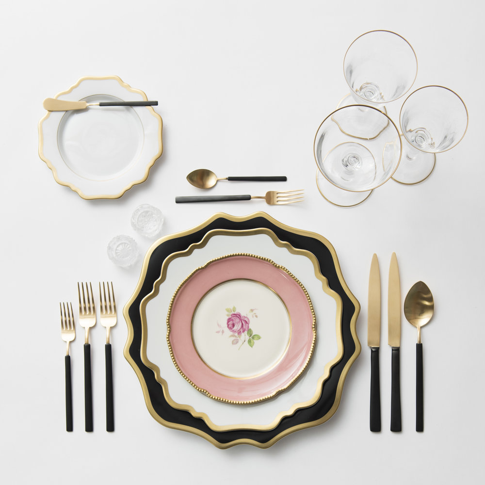 RENT: Anna Weatherley Chargers in Black/Gold + Anna Weatherley Dinnerware in White/Gold + Pink Botanicals Vintage China + Axel Flatware in Matte 24k Gold/Black + Chloe 24k Gold Rimmed Stemware + Antique Crystal Salt Cellars  SHOP: Anna Weatherley Dinnerware in White/Gold + Chloe 24k Gold Rimmed Stemware