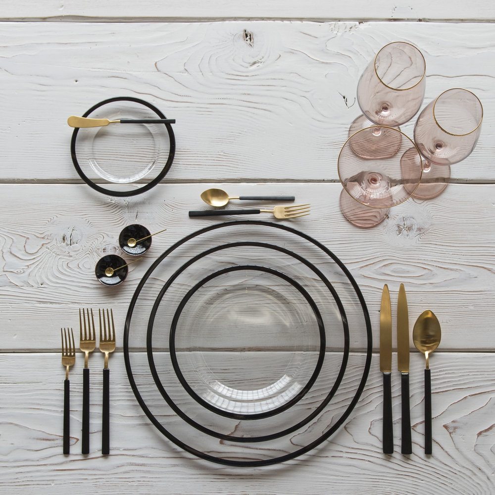 RENT: Halo Glass Chargers/Dinnerware in Black + Axel Flatware in Matte 24k Gold/Black + Bella 24k Gold Rimmed Stemware in Blush + Black Enamel Salt Cellars + Tiny Gold Spoons  SHOP: Halo Glass Chargers/Dinnerware in Black + Bella 24k Gold Rimmed Stemware in Blush + Black Enamel Salt Cellars + Tiny Gold Spoons