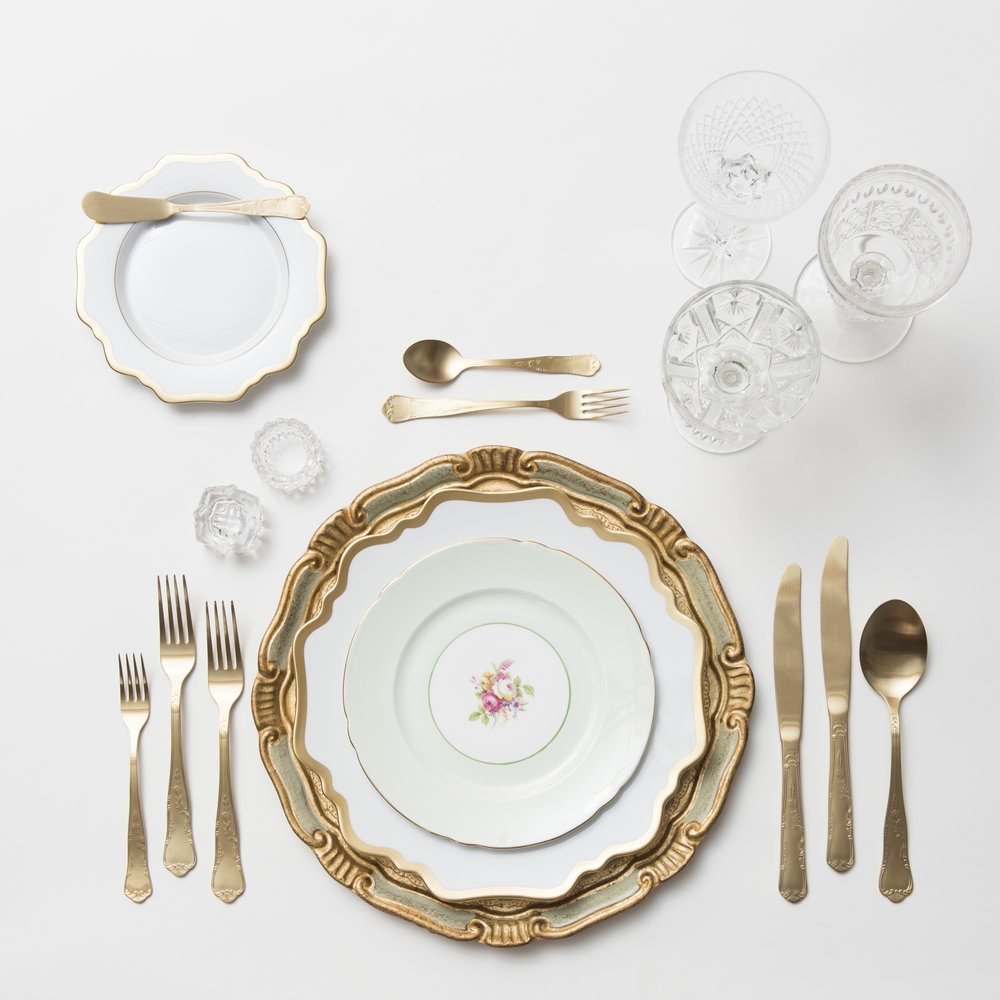 RENT: Florentine Chargers in Sage/Gold + Anna Weatherley Dinnerware in White/Gold + Green Botanicals Vintage China + Chateau Flatware in Matte Gold + Vintage Cut Crystal Goblets + Early American Pressed Glass Goblets + Vintage Champagne Coupes + Antique Crystal Salt Cellars   SHOP: Florentine Chargers in Sage/Gold + Anna Weatherley Dinnerware in White/Gold