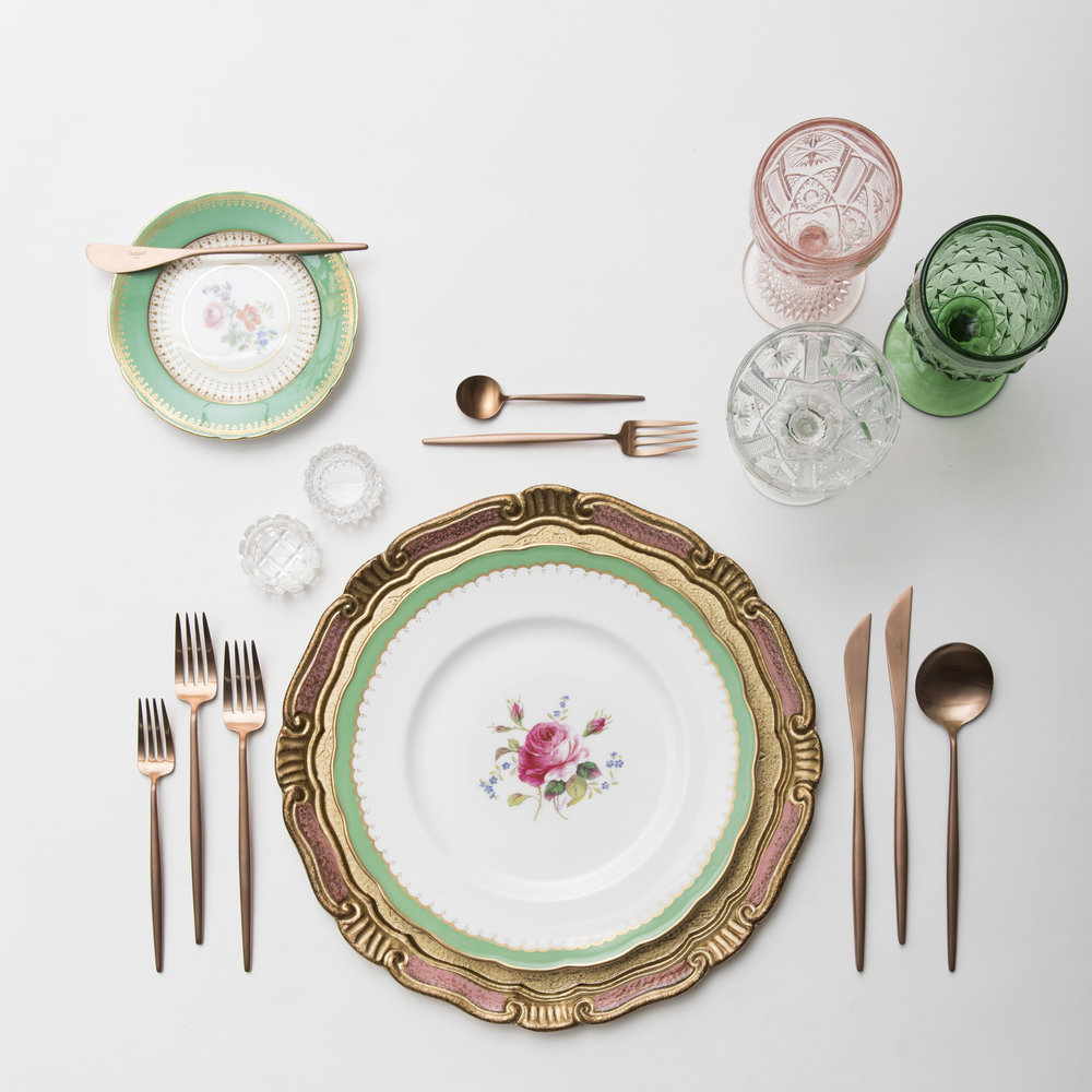 RENT: Florentine Chargers in Gold/Rose + Green Botanicals Vintage China + Moon Flatware in Brushed Rose Gold + Pink/Green Vintage Goblets + Vintage Champagne Coupes + Antique Crystal Salt Cellars  SHOP: Moon Flatware in Brushed Rose Gold