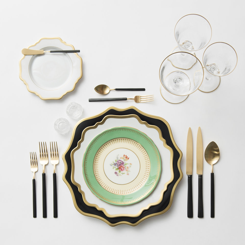 RENT: Anna Weatherley Chargers in Black/Gold + Anna Weatherley Dinnerware in White/Gold + Green Botanicals Vintage China + Axel Flatware in Matte 24k Gold/Black + Chloe 24k Gold Rimmed Stemware + Antique Crystal Salt Cellars   SHOP: Anna Weatherley Dinnerware in White/Gold + Chloe 24k Gold Rimmed Stemware