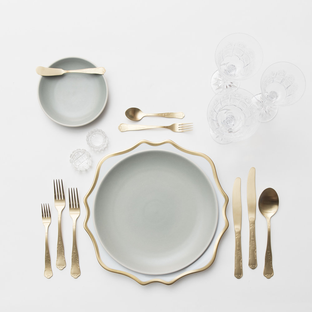 RENT: Anna Weatherley Chargers in White/Gold + Heath Ceramics in Mist + Chateau Flatware in Matte Gold + Czech Crystal Stemware + Antique Crystal Salt Cellars   SHOP: Anna Weatherley Chargers in White/Gold