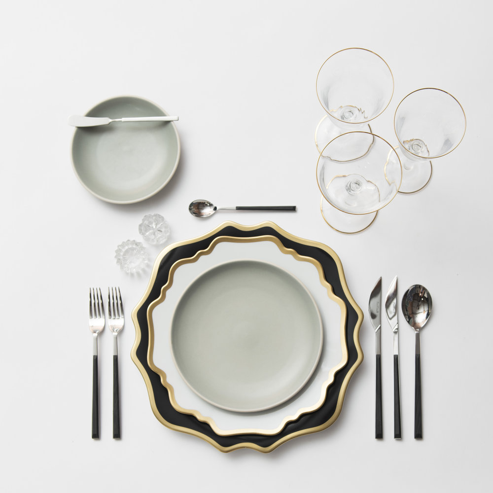 RENT: Anna Weatherley Chargers in Black/Gold + Anna Weatherley Chargers in White/Gold + Heath Ceramics in Mist + Danish Flatware in Ebony + Chloe 24k Gold Rimmed Stemware + Antique Crystal Salt Cellars  SHOP: Anna Weatherley Chargers in White/Gold + Chloe 24k Gold Rimmed Stemware