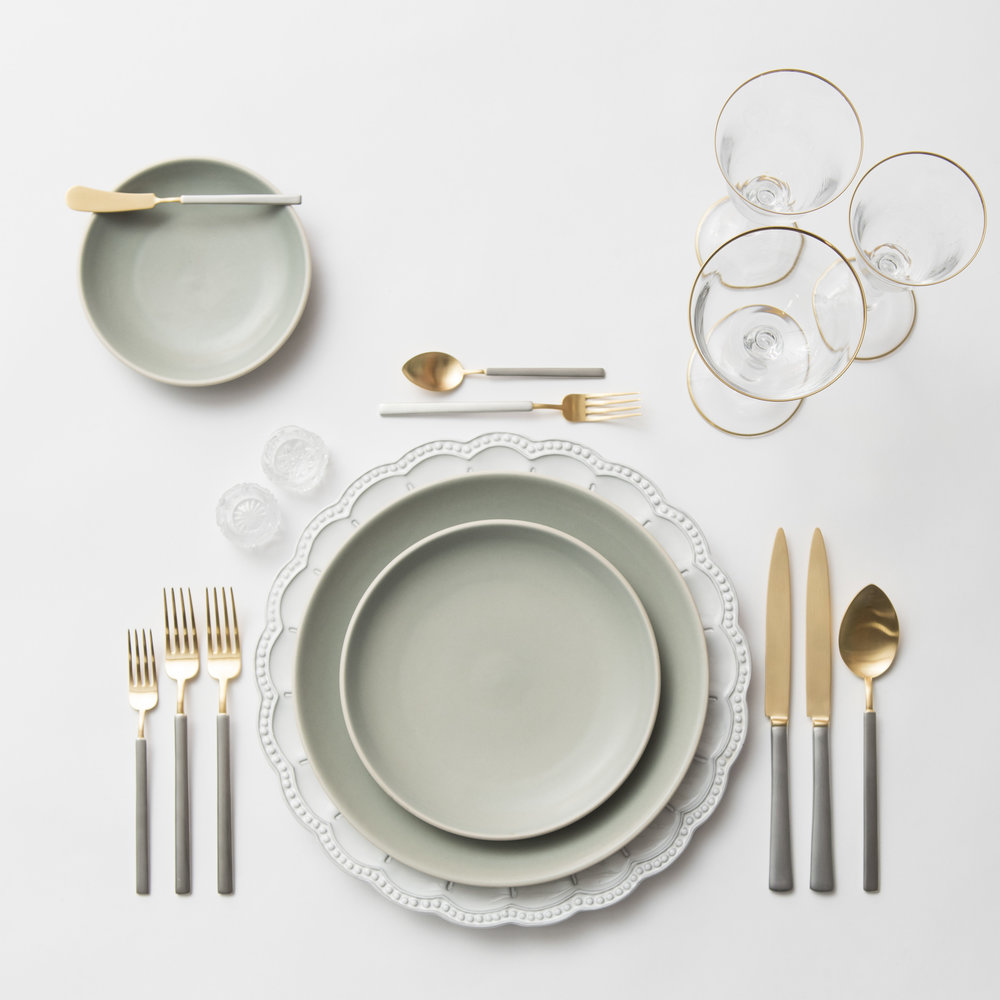 RENT: Signature Collection Chargers + Heath Ceramics in Mist + Axel Flatware in Matte 24k Gold/Silver + Chloe 24k Gold Rimmed Stemware + Antique Crystal Salt Cellars  SHOP: Chloe 24k Gold Rimmed Stemware