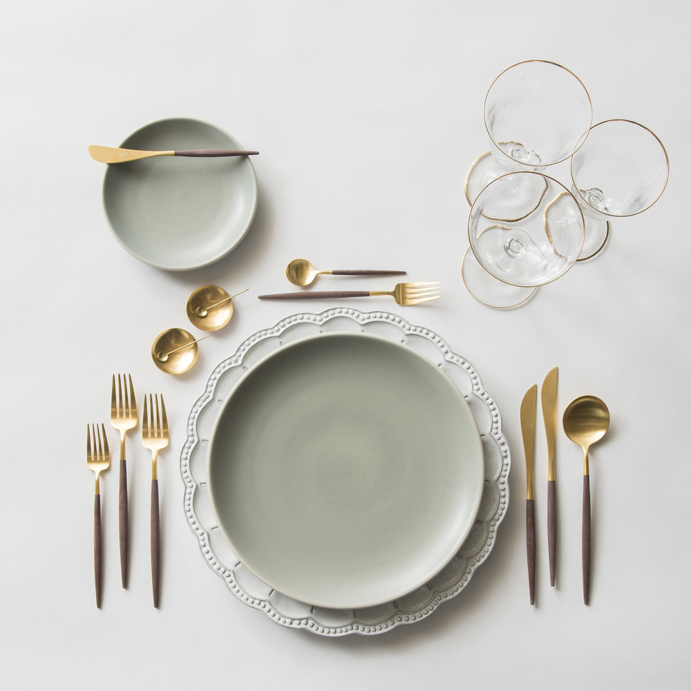 RENT: Signature Collection Chargers + Heath Ceramics in Mist + Goa Flatware in Brushed 24k Gold/Wood + Chloe 24k Gold Rimmed Stemware + 14k Gold Salt Cellars + Tiny Gold Spoons   SHOP: Goa Flatware in Brushed 24k Gold/Wood + Chloe 24k Gold Rimmed Stemware + 14k Gold Salt Cellars + Tiny Gold Spoons