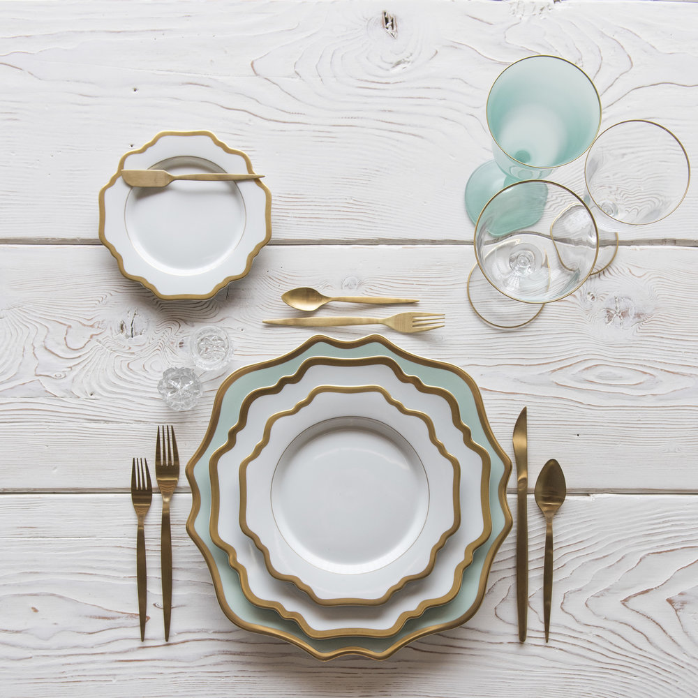 RENT: Anna Weatherley Chargers in Aqua Sky/Gold + Anna Weatherley Dinnerware in White/Gold + Celeste Flatware in Matte Gold + Chloe 24k Gold Rimmed Stemware + Chloe 24k Gold Rimmed Goblet in Tiffany + Antique Crystal Salt Cellars   SHOP: Anna Weatherley Chargers in Aqua Sky/Gold + Anna Weatherley Dinnerware in White/Gold + Chloe 24k Gold Rimmed Stemware