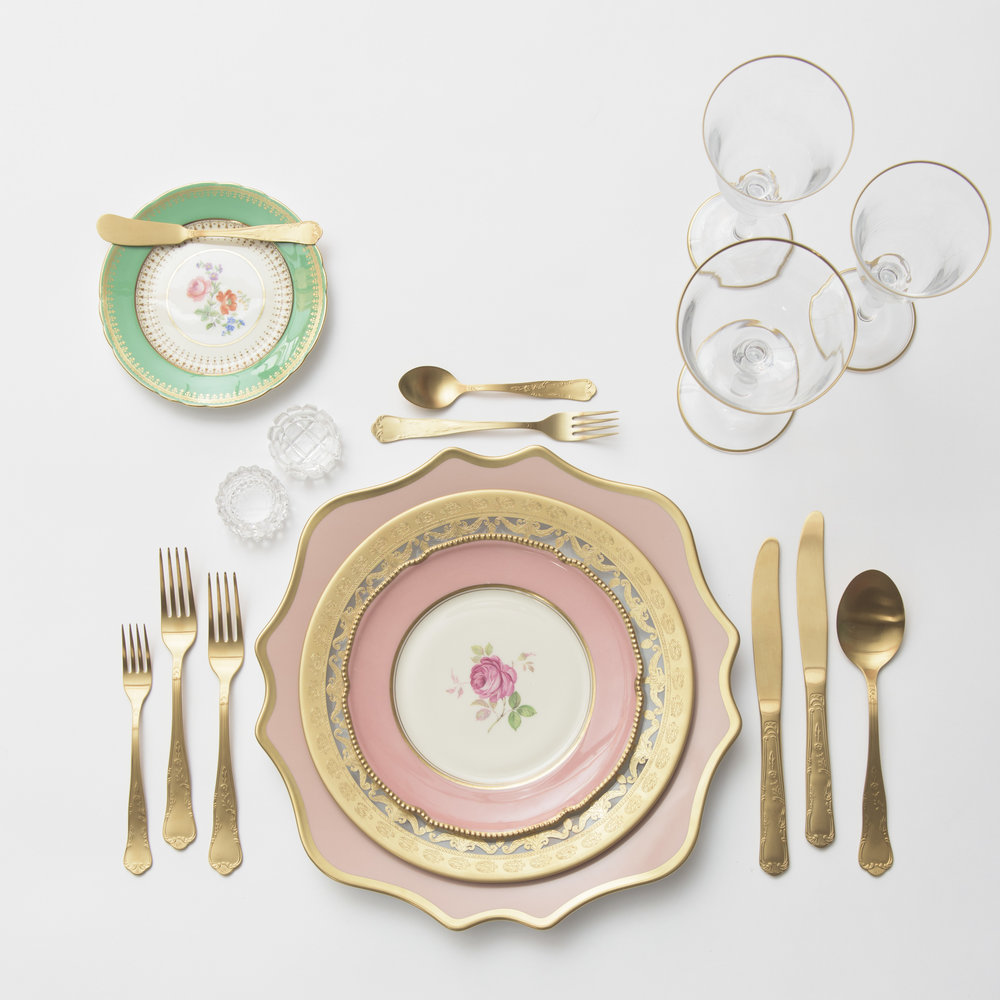 RENT: Anna Weatherley Chargers in Desert Rose/Gold + Versailles Glass Dinnerware in 24k Gold + Pink/Green Botanicals Vintage China + Chateau Flatware in Matte Gold + Chloe 24k Gold Rimmed Stemware + Antique Crystal Salt Cellars  SHOP: Chloe 24k Gold Rimmed Stemware