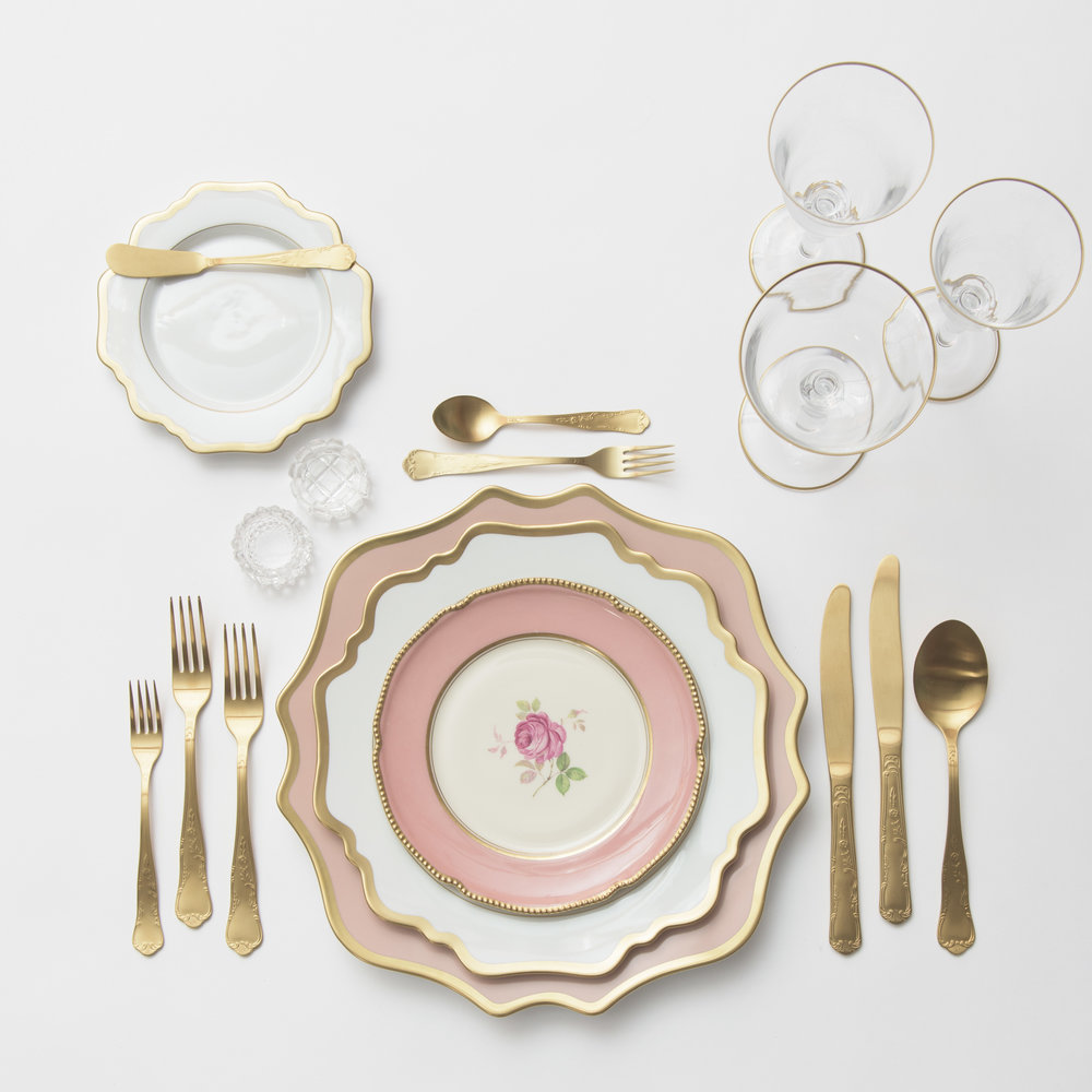RENT: Anna Weatherley Chargers in Desert Rose/Gold + Anna Weatherley Dinnerware in White/Gold + Pink Botanicals Vintage China + Chateau Flatware in Matte Gold + Chloe 24k Gold Rimmed Stemware + Antique Crystal Salt Cellars  SHOP: Chloe 24k Gold Rimmed Stemware