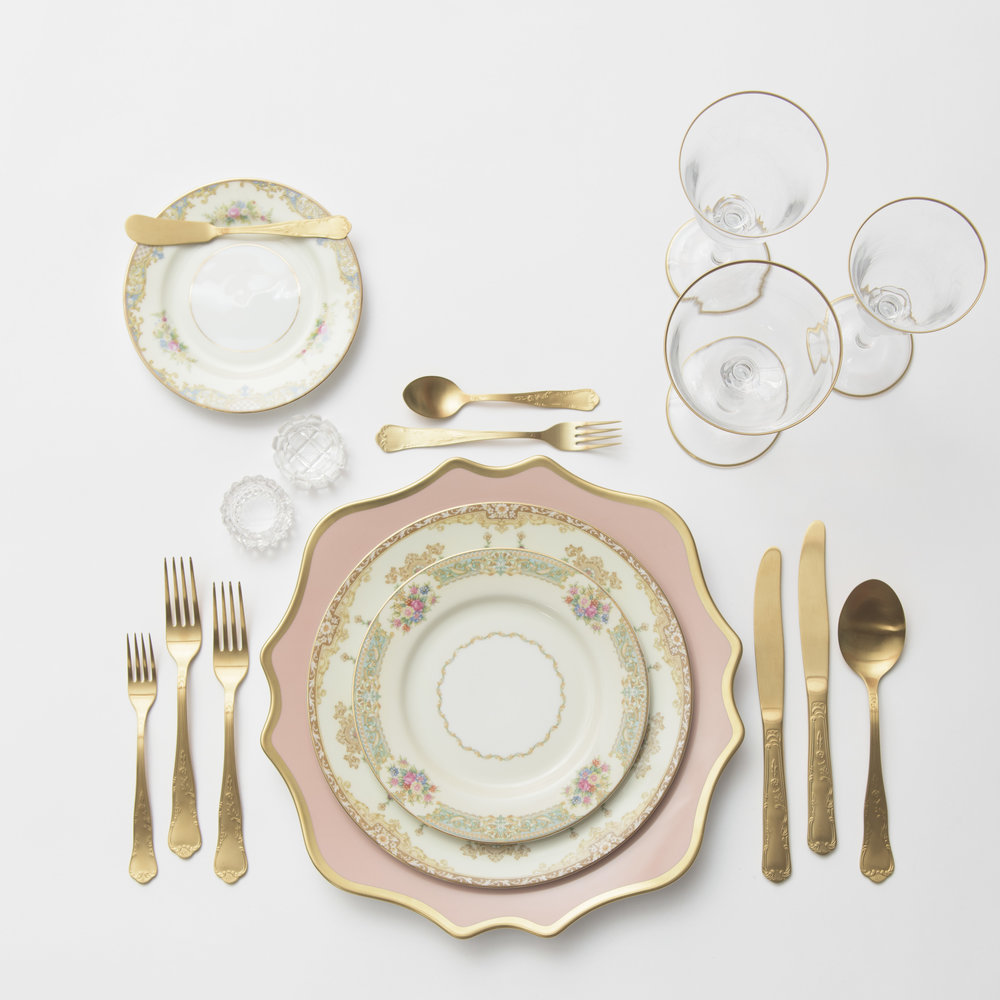 RENT: Anna Weatherley Chargers in Desert Rose/Gold + Le Melange Vintage China + Chateau Flatware in Matte Gold + Chloe 24k Gold Rimmed Stemware + Antique Crystal Salt Cellars  SHOP: Chloe 24k Gold Rimmed Stemware