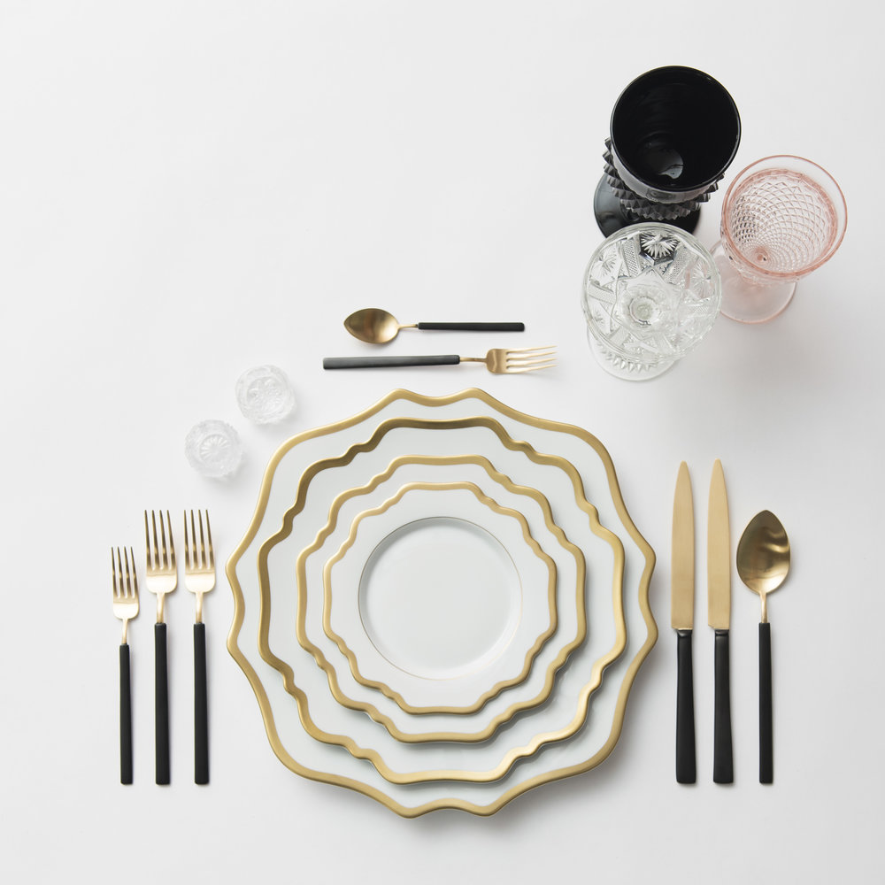 RENT: Anna Weatherley Chargers/Dinnerware in White/Gold + Axel Flatware in Matte 24k Gold/Black + Black/Pink Vintage Goblets + Vintage Champagne Coupes + Antique Crystal Salt Cellars  SHOP: Anna Weatherley Chargers/Dinnerware in White/Gold