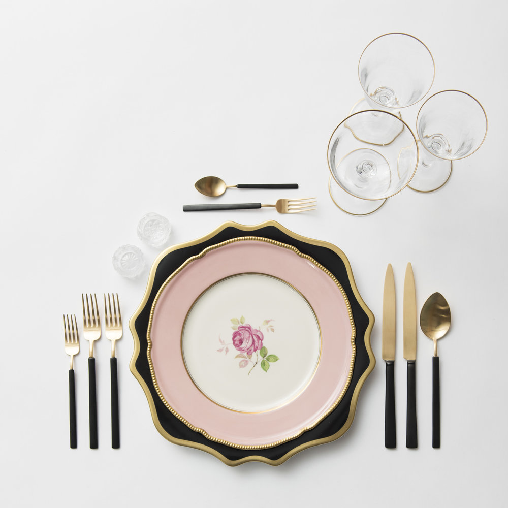 RENT: Anna Weatherley Chargers in Black/Gold + Pink Botanicals Vintage China + Axel Flatware in Matte 24k Gold/Black + Chloe 24k Gold Rimmed Stemware + Antique Crystal Salt Cellars  SHOP: Chloe 24k Gold Rimmed Stemware