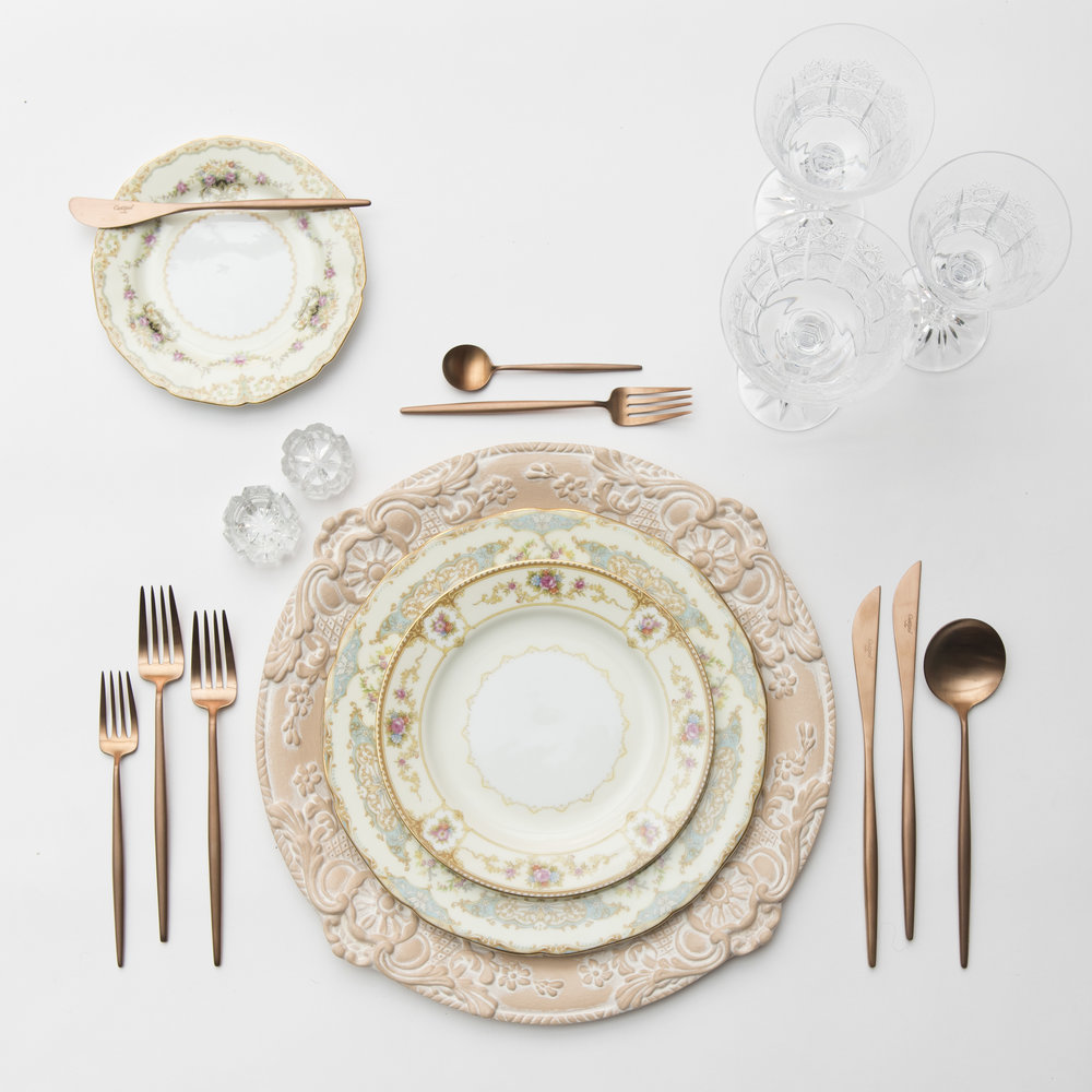 RENT: Verona Chargers in Terracotta + Le Melange Vintage China + Moon Flatware in Brushed Rose Gold + Czech Crystal Stemware + Antique Crystal Salt Cellars   SHOP: Verona Chargers in Terracotta + Moon Flatware in Brushed Rose Gold