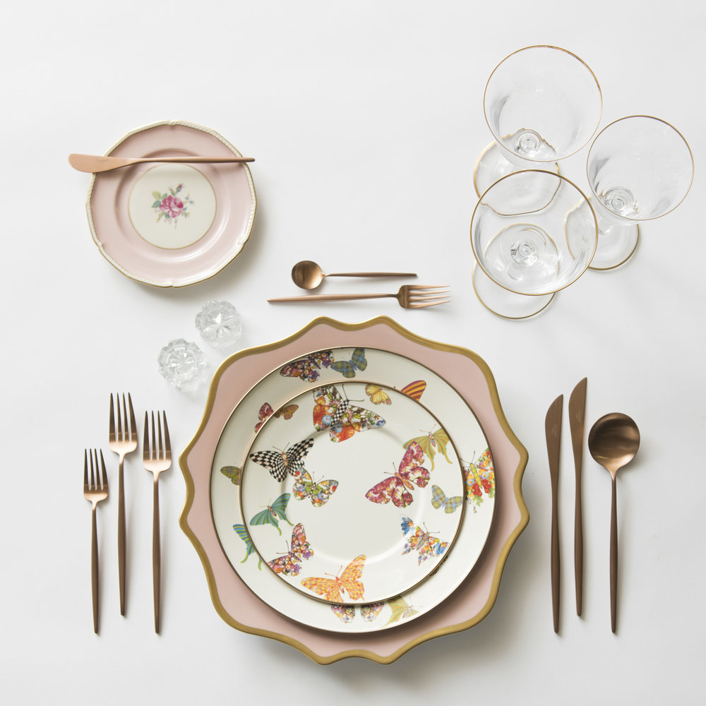 RENT: Anna Weatherley Chargers in Desert Rose/Gold + MacKenzie-Childs Butterfly Garden Collection + Pink Botanicals Vintage China + Moon Flatware in Brushed Rose Gold + Chloe 24k Gold Rimmed Stemware + Antique Crystal Salt Cellars   SHOP: Moon Flatware in Brushed Rose Gold + Chloe 24k Gold Rimmed Stemware