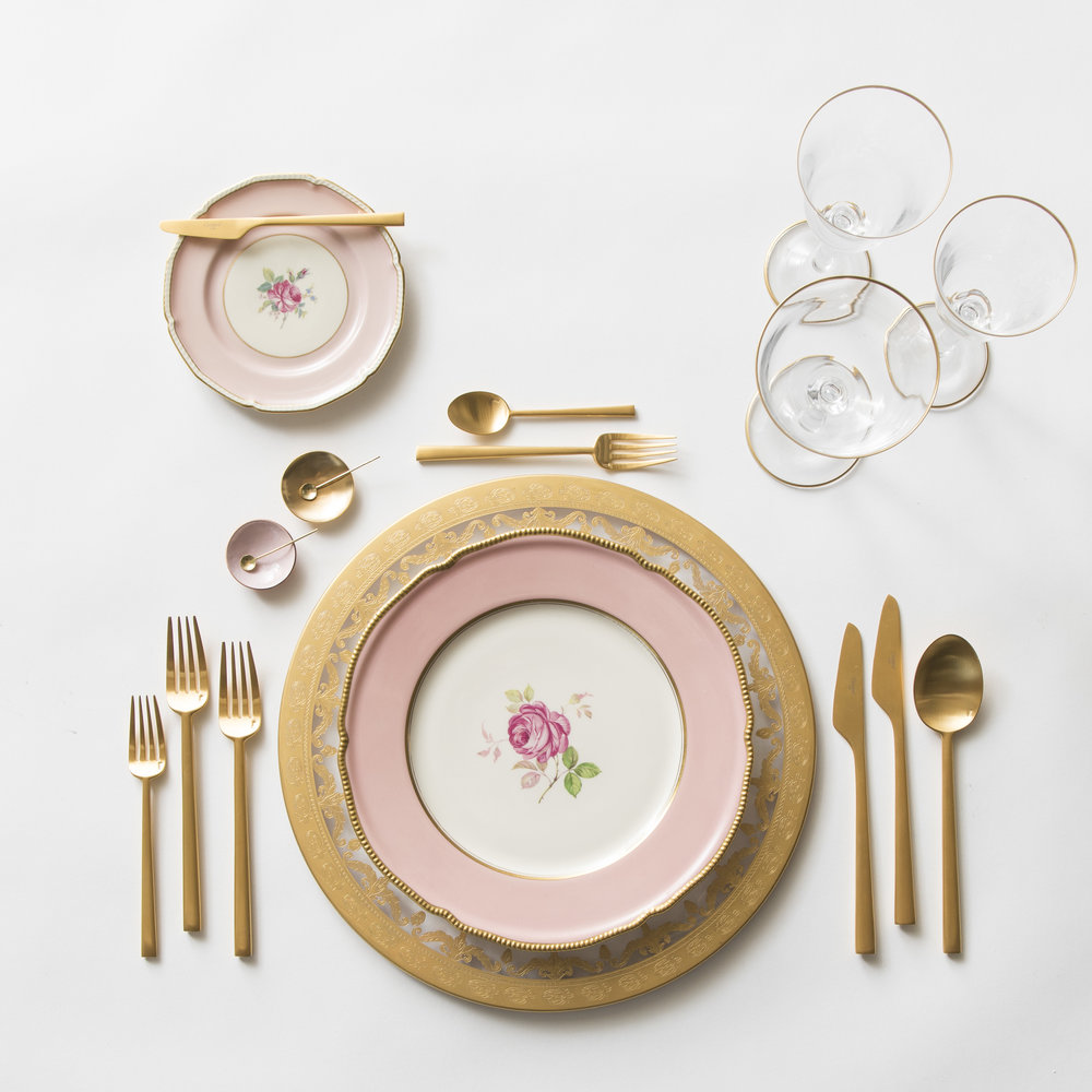 RENT: Versailles Glass Chargers in 24k Gold + Pink Botanicals Collection Vintage China + Rondo Flatware in Brushed 24k Gold + Chloe 24k Gold Rimmed Stemware + Pink Enamel/14k Gold Salt Cellars + Tiny Gold Spoons   SHOP: Rondo Flatware in Brushed 24k Gold + Chloe 24k Gold Rimmed Stemware + Pink Enamel/14k Gold Salt Cellars + Tiny Gold Spoons