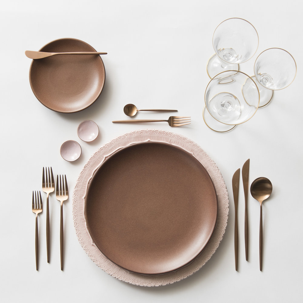 RENT: Lace Chargers in Blush + Heath Ceramics in Redwood + Moon Flatware in Brushed Rose Gold + Chloe 24k Gold Rimmed Stemware + Pink Enamel Salt Cellars  SHOP: Moon Flatware in Brushed Rose Gold + Chloe 24k Gold Rimmed Stemware + Pink Enamel Salt Cellars