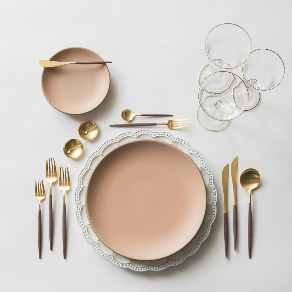 RENT: Signature Collection Chargers + Custom Heath Ceramics in Sunrise + Goa Flatware in Brushed 24k Gold/Wood + Chloe 24k Gold Rimmed Stemware + 14k Gold Salt Cellars + Tiny Gold Spoons   SHOP: Goa Flatware in Brushed 24k Gold/Wood + Chloe 24k Gold Rimmed Stemware + 14k Gold Salt Cellars + Tiny Gold Spoons