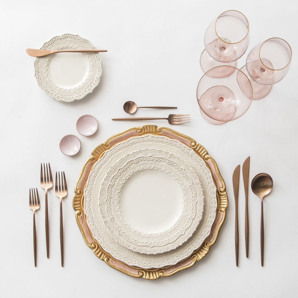 RENT: Florentine Chargers in Light Pink/Gold + Lace Dinnerware in White + Moon Flatware in Brushed Rose Gold + Bella 24k Gold Rimmed Stemware in Blush + Pink Enamel Salt Cellars   SHOP: Florentine Chargers in Light Pink/Gold + Moon Flatware in Brushed Rose Gold + Bella 24k Gold Rimmed Stemware in Blush + Pink Enamel Salt Cellars